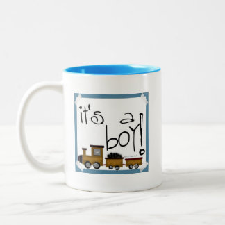 It's a Boy! Train design Two-Tone Coffee Mug