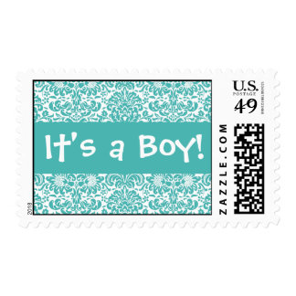 It's a Boy! Turquoise and White Damask Postage