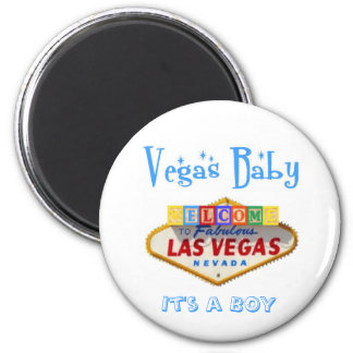 It's a BOY Vegas Baby Announcement! 2 Inch Round Magnet