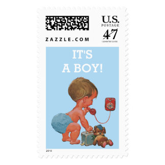 It's A Boy Vintage Baby on Phone Baby Shower Postage