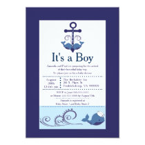 It's A Boy Whale Baby Shower Card