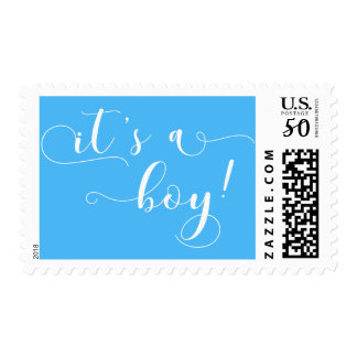 """It's a Boy"" White Typography & Rich Blue Postage"
