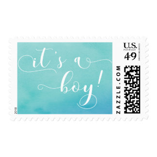 """""""It's a Boy"""" White Typography & Teal Watercolor Postage"""