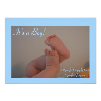 It's a Boy Wiggly Toes Birth Announcement Cards