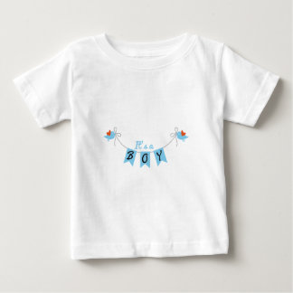 it's a boy with birds and blue bunting flags baby T-Shirt
