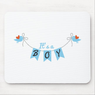 it's a boy with birds and blue bunting flags mouse pad