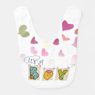 It's A Boy- With Hearts - Baby Bib