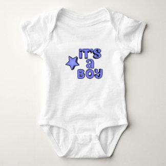 It's A Boy With Puffy Blue Star Baby Bodysuit
