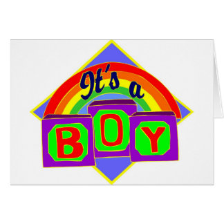 It's a boy with rainbow colors greeting cards