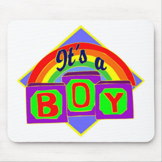 It's a boy with rainbow colors mouse pad