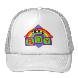 It's a boy with rainbow colors trucker hat