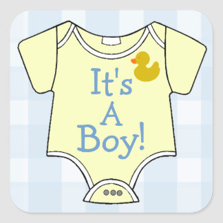 It's A Boy-Yellow Onsie Square Sticker