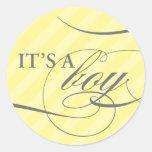 It's a Boy Yellow Striped Sticker