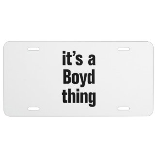 its a boyd thing license plate