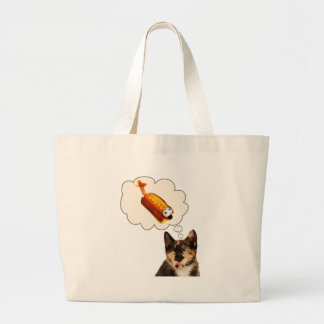 It's a CAT eat DOG world! Large Tote Bag