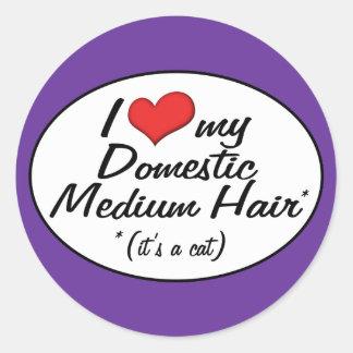It's a Cat! I Love My Domestic Medium Hair Round Sticker