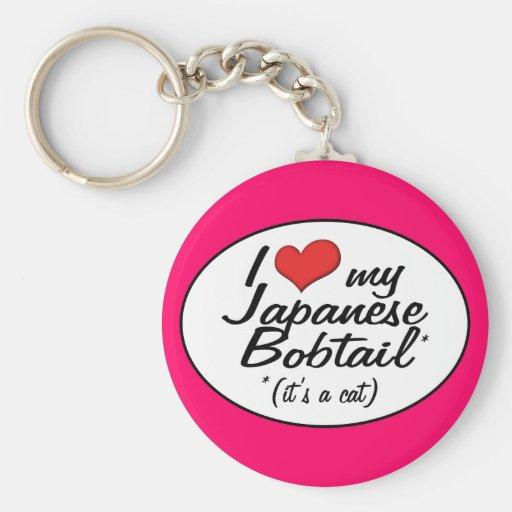 It's a Cat! I Love My Japanese Bobtail Basic Round Button Keychain