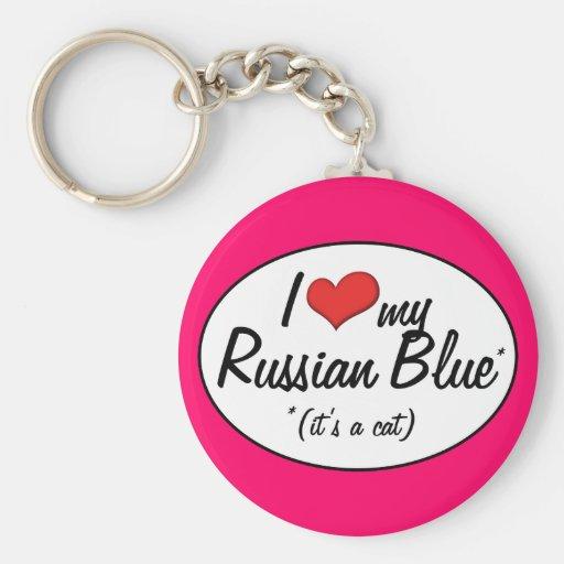 It's a Cat! I Love My Russian Blue Keychain