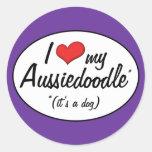 It's a Dog! I Love My Aussiedoodle Classic Round Sticker