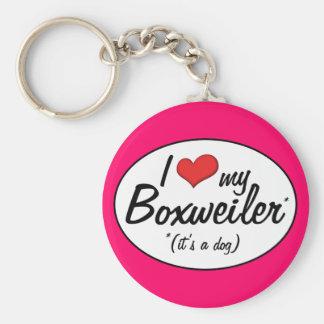 It's a Dog! I Love My Boxweiler Basic Round Button Keychain