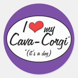 It's a Dog! I Love My Cava-Corgi Classic Round Sticker