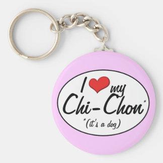 It's a Dog! I Love My Chi-Chon Keychain