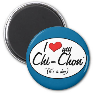 It's a Dog! I Love My Chi-Chon Magnet