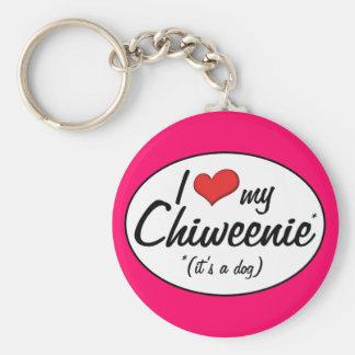 It's a Dog! I Love My Chiweenie Keychain