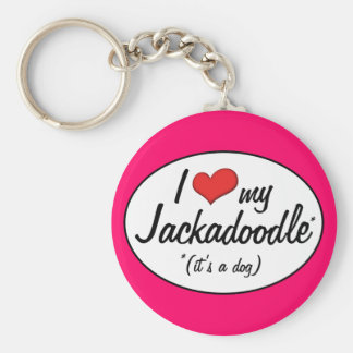 It's a Dog! I Love My Jackadoodle Keychain