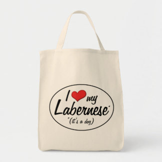 It's a Dog! I Love My Labernese Grocery Tote Bag