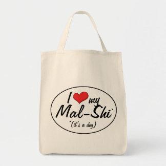 It's a Dog! I Love My Mal-Shi Grocery Tote Bag