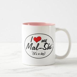 It's a Dog! I Love My Mal-Shi Two-Tone Coffee Mug