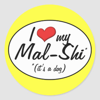 It's a Dog! I Love My Mal-Shi Classic Round Sticker