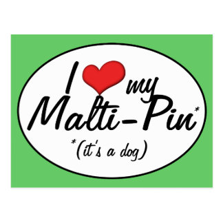 It's a Dog! I Love My Malti-Pin Postcard