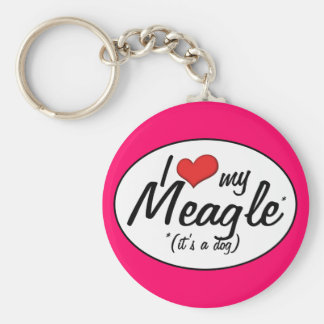 It's a Dog! I Love My Meagle Keychain