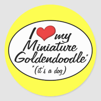 It's a Dog! I Love My Miniature Goldendoodle Classic Round Sticker