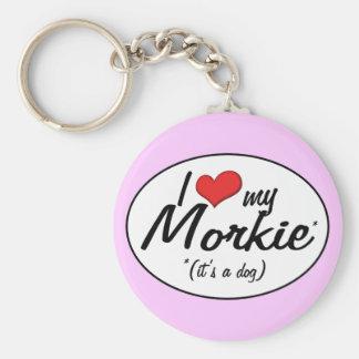 It's a Dog! I Love My Morkie Basic Round Button Keychain