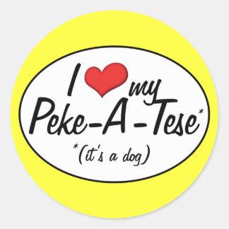 It's a Dog! I Love My Peke-A-Tese Classic Round Sticker