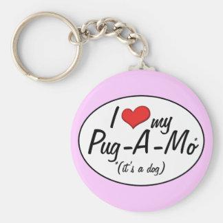 It's a Dog! I Love My Pug-A-Mo Keychain