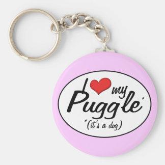 It's a Dog! I Love My Puggle Basic Round Button Keychain