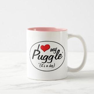 It's a Dog! I Love My Puggle Two-Tone Coffee Mug