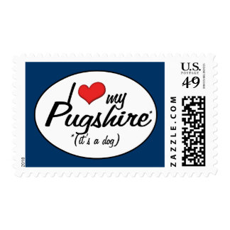 It's a Dog! I Love My Pugshire Postage Stamps