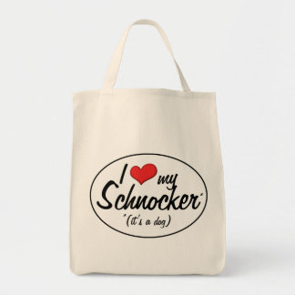 It's a Dog! I Love My Schnocker Grocery Tote Bag