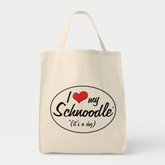 It's a Dog! I Love My Schnoodle Canvas Bags