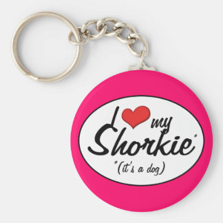 It's a Dog! I Love My Shorkie Basic Round Button Keychain