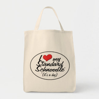 It's a Dog! I Love My Standard Schnoodle Canvas Bags