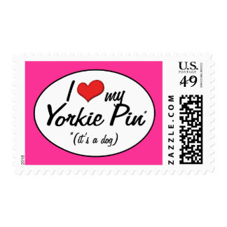 It's a Dog! I Love My Yorkie Pin Postage Stamps