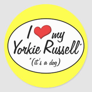 It's a Dog! I Love My Yorkie Russell Classic Round Sticker