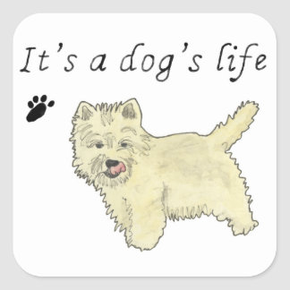 It's a Dog's Life Funny Westie novelty mouse mat Square Sticker