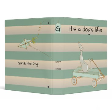 Beach Themed It's a Dog's Life with Rustic Beach Stripes Binder